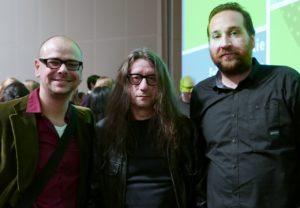 Cor de Jong en Pieter Ponsen met schrijver Herman Brusselmans